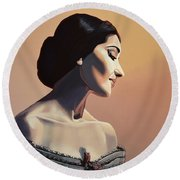 Maria Callas Painting Round Beach Towel