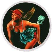 Maria Sharapova  Round Beach Towel by Paul Meijering