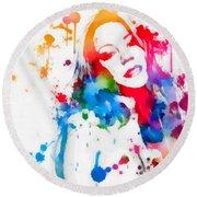 Mariah Carey Watercolor Paint Splatter Round Beach Towel