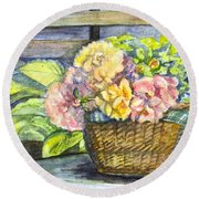 Marias Basket Of Peonies Round Beach Towel by Carol Wisniewski