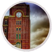 Round Beach Towel featuring the photograph Marietta Clock Tower by Dennis Baswell