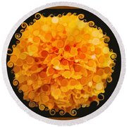 Marigold Magic Abstract Flower Art Round Beach Towel