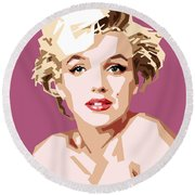 Marilyn Round Beach Towel by Douglas Simonson