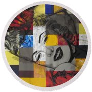 Marilyn In Abstract Round Beach Towel