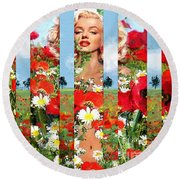 Marilyn In Poppies 1 Round Beach Towel