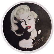 Marilyn In The Moonlight Round Beach Towel