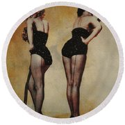 Marilyn Monroe And Jane Russell Round Beach Towel by EricaMaxine  Price