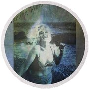 Marilyn Monroe At The Beach Round Beach Towel by Absinthe Art By Michelle LeAnn Scott