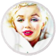 Marilyn Monroe Round Beach Towel by Barbara Chichester