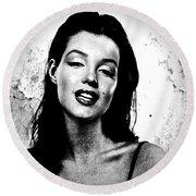 Marilyn Monroe--brunette Round Beach Towel