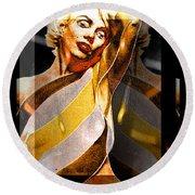 Round Beach Towel featuring the digital art Marilyn Monroe by Daniel Janda
