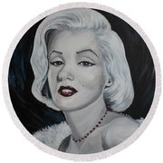Round Beach Towel featuring the painting Marilyn Monroe by Julie Brugh Riffey