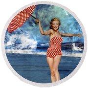 Marilyn Monroe - On The Beach Round Beach Towel by EricaMaxine  Price