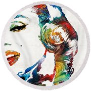 Round Beach Towel featuring the painting Marilyn Monroe Painting - Bombshell - By Sharon Cummings by Sharon Cummings