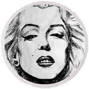 Marilyn Monroe Round Beach Towel by Salman Ravish