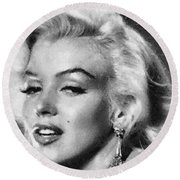 Round Beach Towel featuring the painting Beautiful Marilyn Monroe Unique Actress by Georgi Dimitrov