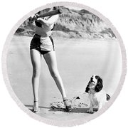 Marilyn Playing Baseball At The Beach Round Beach Towel