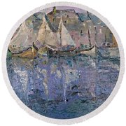 Round Beach Towel featuring the painting Marina by AmaS Art