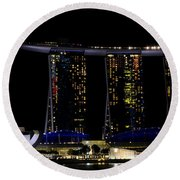 Marina Bay Sands Integrated Resort Hotel And Casino And Artscience Museum Singapore Marina Bay Round Beach Towel