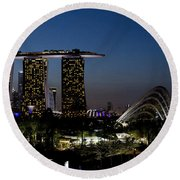 Marina Bay Skyline Round Beach Towel