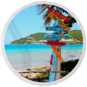 Marina Cay Sign Round Beach Towel