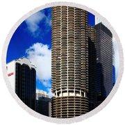 Marina City Corncob Tower Round Beach Towel