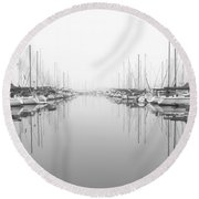 Round Beach Towel featuring the photograph Marina - High Key by Heidi Smith
