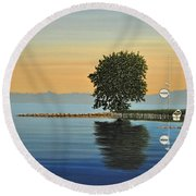 Marina Morning Round Beach Towel