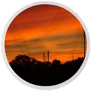Round Beach Towel featuring the photograph Marina Sunset by Deena Stoddard