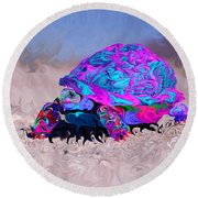 Marine Corporal's Turtle In Peace Paint V2 Round Beach Towel