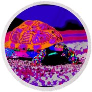 Marine Corporals Turtle In Peace Paint V3 Round Beach Towel
