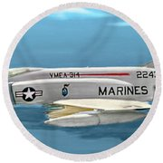 Marine F-4 Phantom  Painting Round Beach Towel