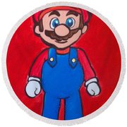 Round Beach Towel featuring the painting Mario by Marisela Mungia