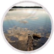 Marion Lake Reflections Round Beach Towel