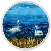 Marion Lake Swans Round Beach Towel