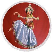 Marionette Puppet Of Woman Belly Dancer Round Beach Towel