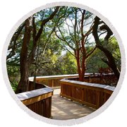 Maritime Forest Boardwalk Round Beach Towel by Kathryn Meyer