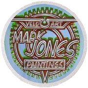 Round Beach Towel featuring the painting Mark Jones Velo Art Painting Blue by Mark Howard Jones