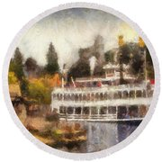 Mark Twain Riverboat Frontierland Disneyland Photo Art 02 Round Beach Towel