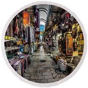 Market In The Old City Of Jerusalem Round Beach Towel