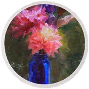 Market Melody - Dahlias And Cattails Round Beach Towel
