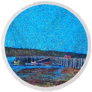 Market Wharf St. Andrews Nb Round Beach Towel