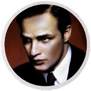 Marlon Brando Tribute Round Beach Towel
