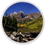 Round Beach Towel featuring the photograph Maroon Bells by Jeremy Rhoades