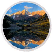 Maroon Bells Landscape Round Beach Towel by Ronda Kimbrow