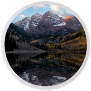 Round Beach Towel featuring the photograph Maroon Bells by Ronda Kimbrow