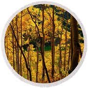 Maroon Lake Gold Round Beach Towel