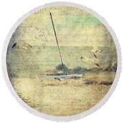 Marooned Round Beach Towel by Erika Weber