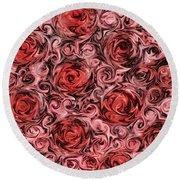 Marsala Roses Round Beach Towel