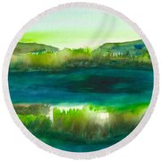 Marsh Abstract 3 By Frank Bright Round Beach Towel by Frank Bright
